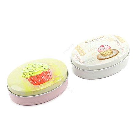 Kit 2 Latinhas Ovais Grandes Cupcake Morango e Creme
