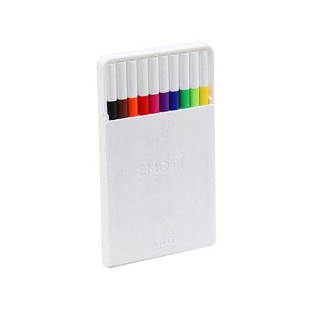 Kit Canetas Uniball Emott Extra Fina Standard Colors com 10 Cores