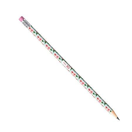 Lápis Preto CiS HB Estampado Flores Verde e Rosa