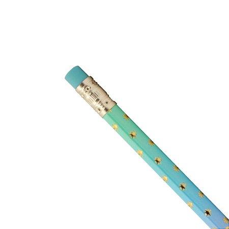 Lápis Preto HB CIS Colorido Degradê Borracha Azul