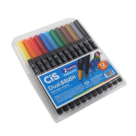 Kit Marcadores Artísticos Aquarelável CIS Dual Brush com 12 Cores