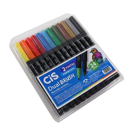 Kit Marcadores Artísticos Aquarelável CIS Dual Brush com 24 Cores