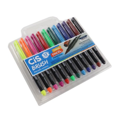 Kit Marcadores Artísticos Aquarelável CIS Brush com 12 Cores