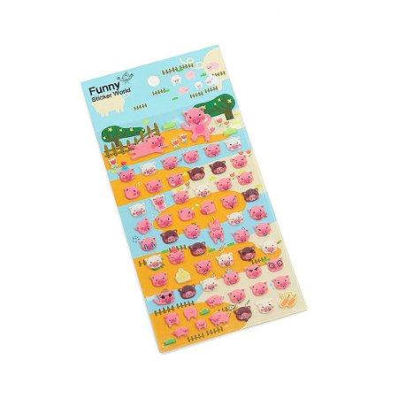 Cartela de Adesivos Stickers Porquinhos
