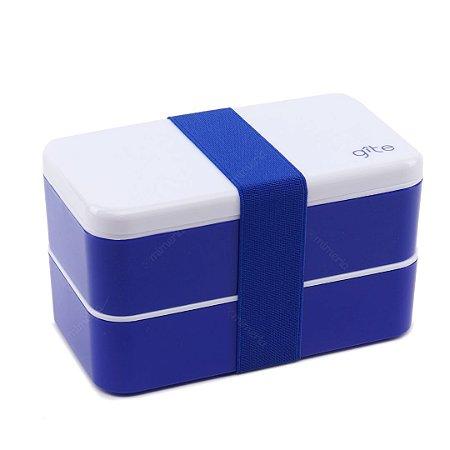 Marmita Lunch Box 2 Compartimentos Azul