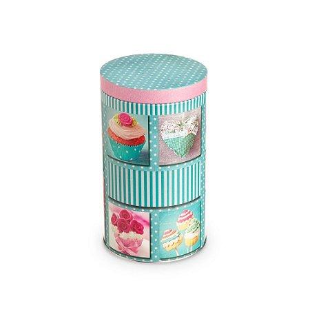Lata Organizadora Redonda Cupcake Azul