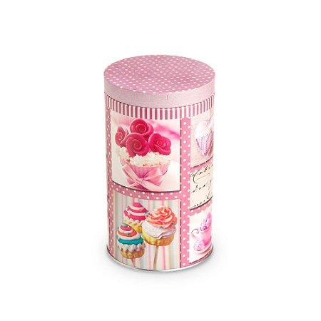 Lata Organizadora Redonda Cupcake Rosa