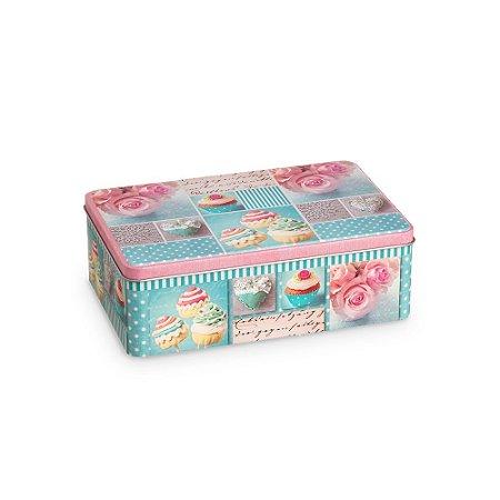 Lata Organizadora Retangular Cupcake Azul