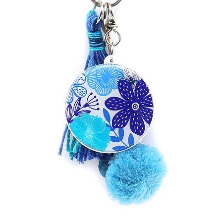 Chaveiro Floral Azul e Branco