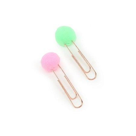 Clips Pompom Verde e Rosa Claro