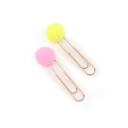 Clips Pompom Amarelo e Rosa