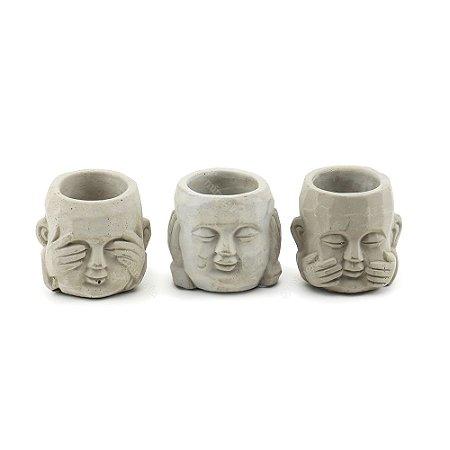 Kit Cachepô Cinza em Cimento Buda