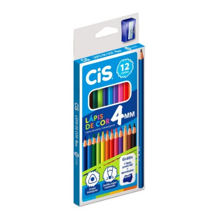 Caixa Lápis de Cor Supercolor com 12 Cores 1 Apontador e 1 Lápis Preto