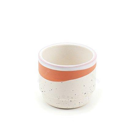 Cachepô de Cerâmica Listra Rosê e Branco Pequeno