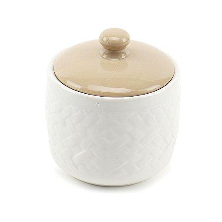 Pote de Cerâmica com Tampa Branco e Bege