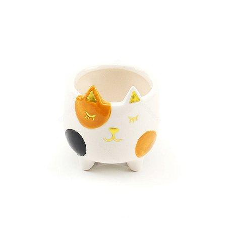 Cachepô de Cerâmica Gato Olho Pintado Branco Pequeno