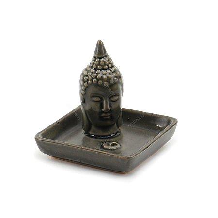 Porta-Incenso de Cerâmica Face de Buda Cinza