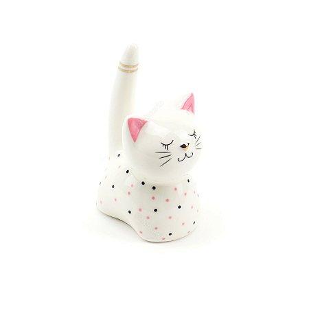 Porta-Anel de Cerâmica Gato Branco com Bolinhas Pretas e Rosas