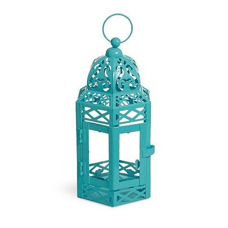 Lanterna Marroquina Turquesa com Vidro