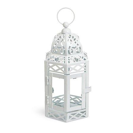 Lanterna Marroquina Branca com Vidro