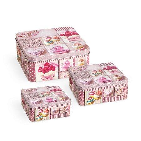 Conjunto 3 Latas Organizadoras Quadradas Cupcake Rosa