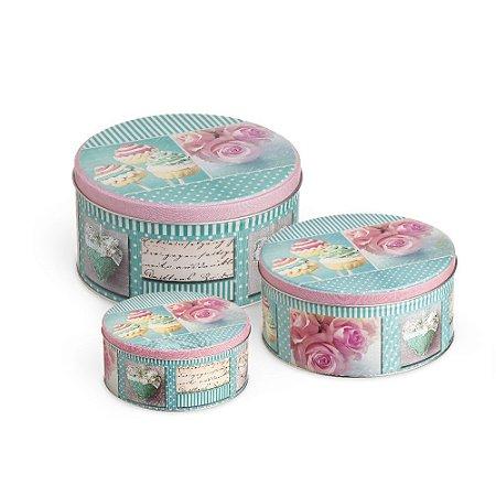 Conjunto 3 Latas Organizadoras Redondas Cupcake Azul