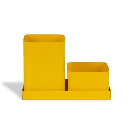 Porta-Lápis Duplo em Aço com Bandeja Amarelo