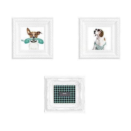 Conjunto com 3 Porta Retratos Magnéticos Branco