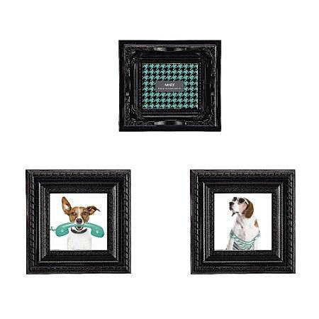 Conjunto com 3 Porta Retratos Magnéticos Preto
