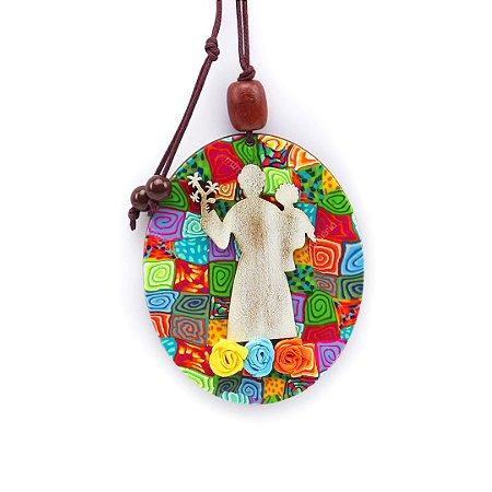 Placa Oval Santo Antonio Colorido com Flor Médio