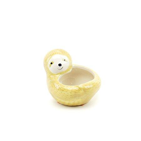 Mini Cachepô de Cerâmica Preguiça Bege