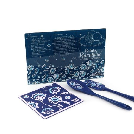 Kit de Cozinha Azulejos Portugueses Azul 4 Peças