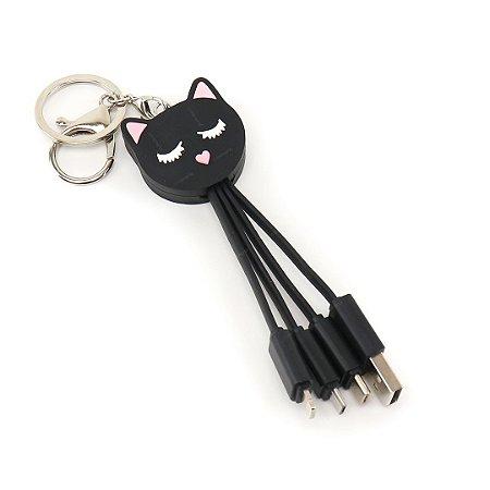 Cabo USB com Chaveiro Gatinha Preta