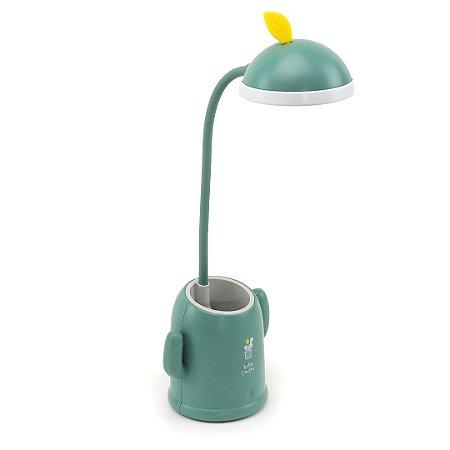Luminária de Mesa Cacto Divertido Verde