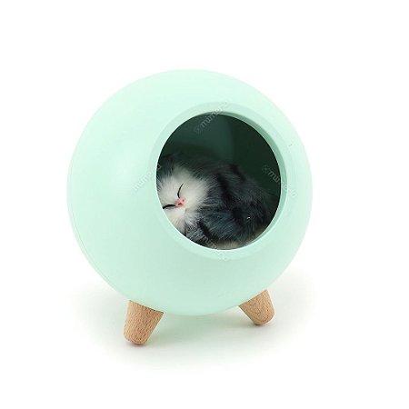 Luminária de Bichinho Gato Verde