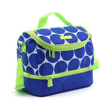 Bolsa Térmica com 2 Compartimentos Estampada Dots Azul e Verde