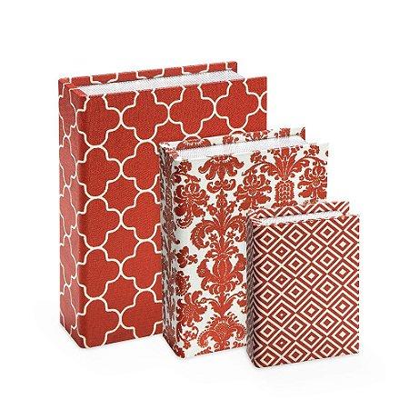Conjunto 3 Livros Caixa Estampados Vermelho