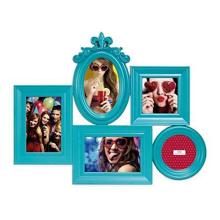 Porta Retrato Decorado Turquesa - 5 fotos