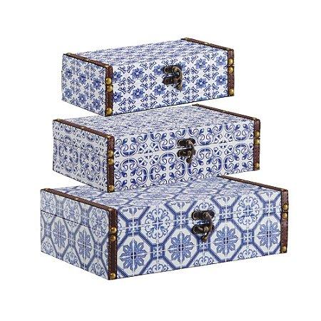 Conjunto 3 Caixas com Fecho Azulejos