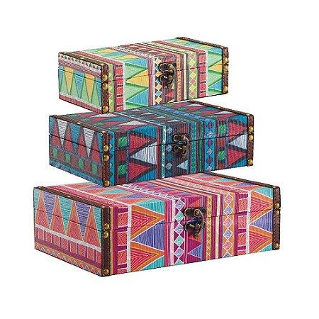 Conjunto 3 Caixas com Fecho Étnica Colorida