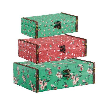 Conjunto 3 Caixas com Fecho Floral Verde