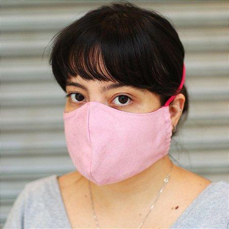 Máscara de Proteção Suede com Malha Modelo Bico de Pato Lisa Rosa