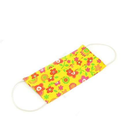 Máscara de Proteção de Algodão Estampada Floral Amarela