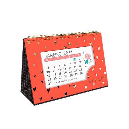 Calendário de Mesa 2021 Corações Dourados