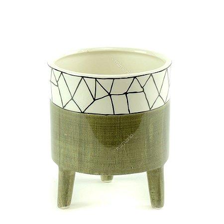 Cachepô de Cerâmica com Pés Vert Grande