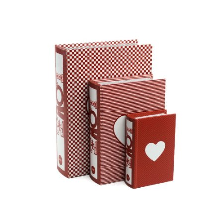Conjunto 3 Livros Caixa Decorativos Love Vermelho