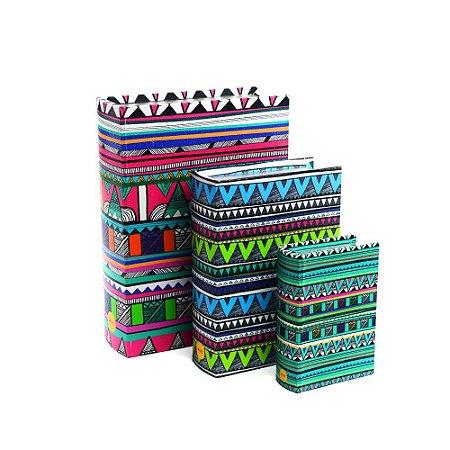 Conjunto 3 Livros Caixa Decorativos Étnico