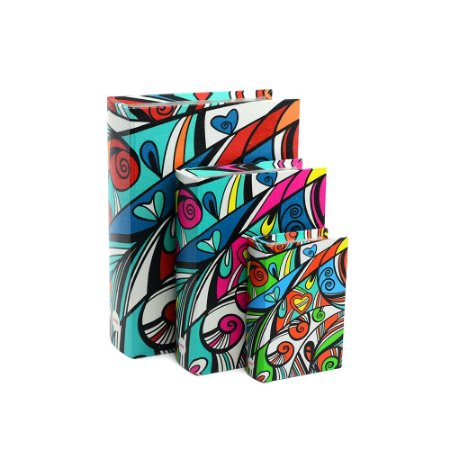 Conjunto 3 Livros Caixa Decorativos Colorido Contemporâneo