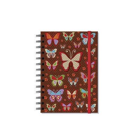 Caderno Médio Decorado Borboletas Coloridas