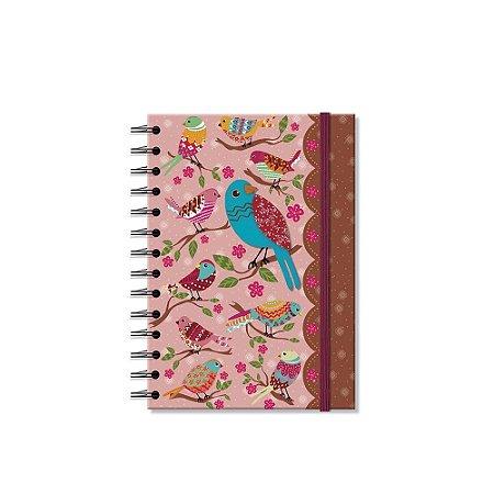 Caderno Médio Decorado Passarinhos Silvestres